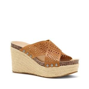 Lucky Brand Neeka Tan Leather Espadrille Heels 8